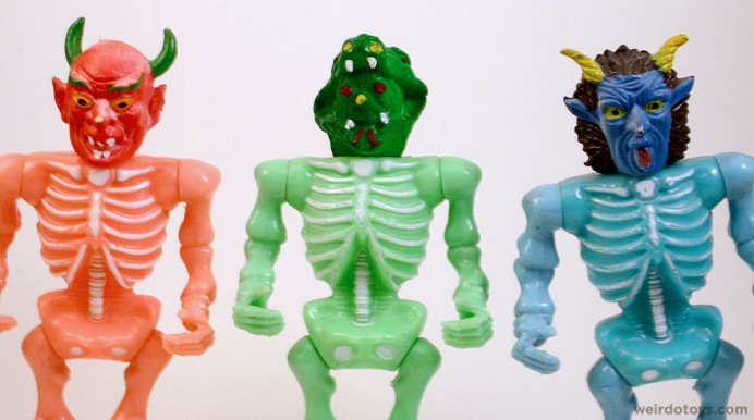 Multi-Colored Monster Head Skeletons (or Apple Devil and Friends)