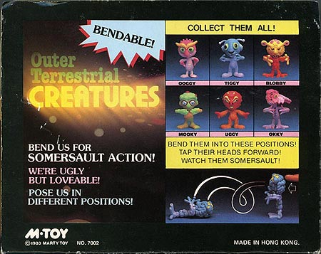Outer Terrestrial Creatures Box Back - Ooggy, Uggy and Tiggy - Weird, bendy alien toys by Marty Toy, 1983