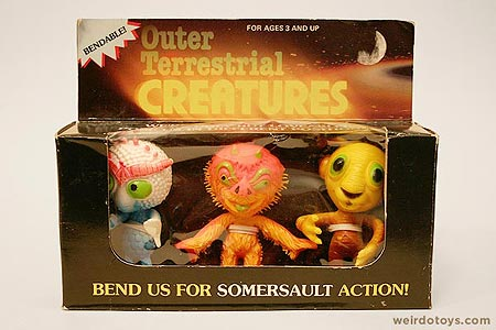 Outer Terrestrial Creatures Box - Ooggy, Uggy and Tiggy - Weird, bendy alien toys by Marty Toy, 1983