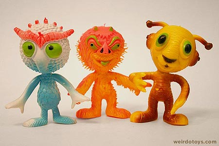 Outer Terrestrial Creatures - Ooggy, Uggy and Tiggy - Weird, bendy alien toys by Marty Toy, 1983