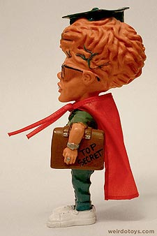 Gross Out Gang - Egg Brain - Big-brained nerd with glasses, red cape and Top Secret briefcase - Skilcraft 1987
