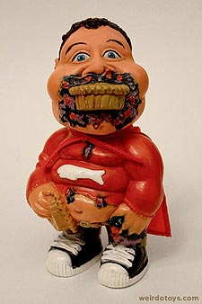 Gross Out Gang - Pie Kid - Fat kid in a red cape with a pie in hand, in mouth and all over his face - Skilcraft 1987