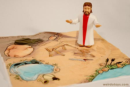 Jesus action figure with landscape