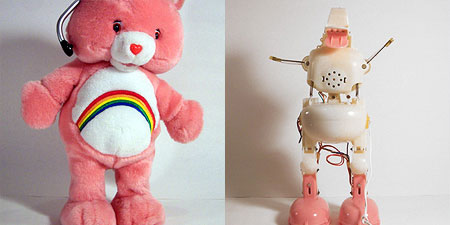Stripped-down Care Bear doll, revealing its animatronic skeleton