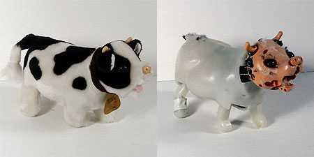 Stripped-down cow doll, revealing its animatronic skeleton