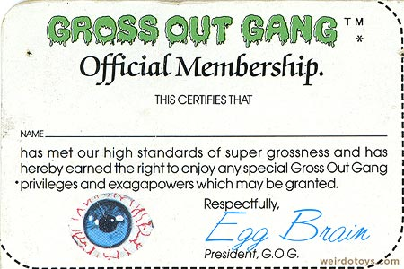 Gross Out Gang - Membership Card