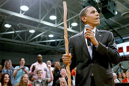 Barack Obama with a stick